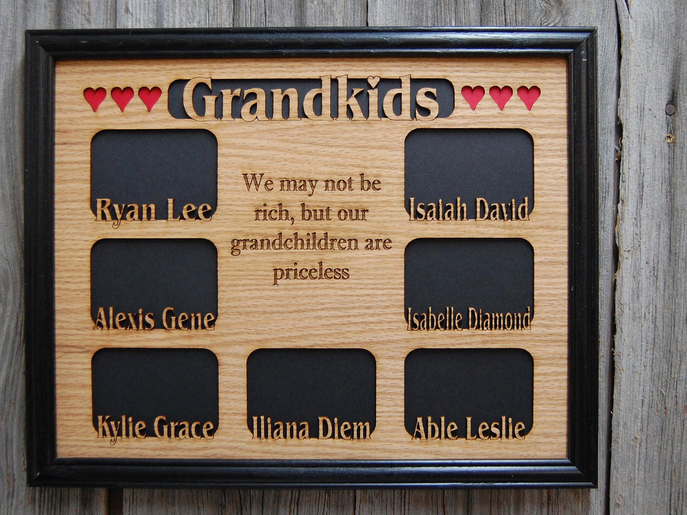 11x14 Grandkids Name Picture Frame with Black Frame, Grandchildren ...