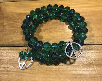 Green Bracelet with Peace Signs
