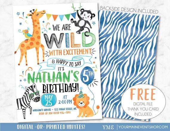 Wild Birthday Invitation, Monkey Jungle Safari Birthday Party Invite, Zoo Party Animal Birthday, Boy Birthday, Lion, Zebra Printable