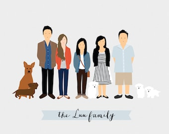 CUSTOM Family Portrait Illustration - Base (2 People)