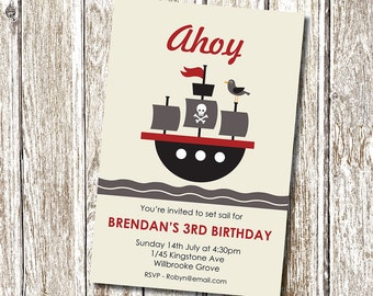 Pirate Birthday Party Invitation - Printable and Personalised