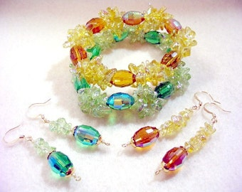 Crystal Bracelets and Earrings Set, Amber Yellow and Sparkling Green Crystal Bead Bracelets, Beaded Jewelry Set with Dangle Earrings