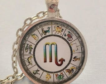 SCORPIO glass pendant necklace, Astrology necklace, Scorpio jewellery, Silver astrology necklace