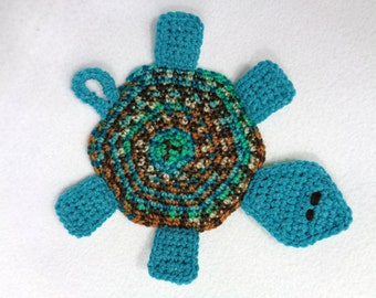 Tortoise Pot Holder, Turtle Hot Pad, Tortoise Trivet, Teal and Brown Turtle, Crochet Turtle, Mothers Day Gift, Rug Mug Stocking Stuffer