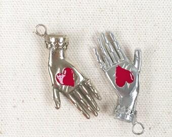 BRONZE Heart in Hand pendant with enamel