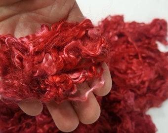 """Suri Alpaca Locks, Red Hand Dyed Locks, 6"""" Locks, Washed and Dyed Suri Locks, Doll Hair, Tail Spinning, Lock Spinning, Rug Hooking"""