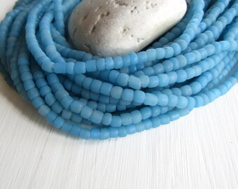Small blue seed beads, turquoise glass beads, Opaque matte  spacer tube barrel, New Indo-pacific 3 to 6mm (22 inches strand) 6bb1-45