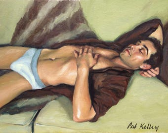 Male Figure Study, Man Sleeping on Sofa, Original Oil Painting, Male Portrait, Handsome Man, Contemporary Realism, Pat Kelley, Fine Art