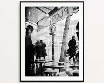 Paris Cafe Photograph, Paris Print, Paris Wall Art, Paris Decor, Paris Street Photography, Large Wall Art, Paris Cafe Print, Cafe de Flore