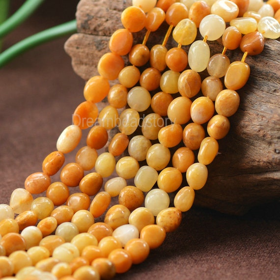 Natural Chinese Old Yellow Jade Pebble Nuggets Beads In Bulk