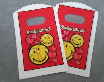 Plastic bags for candy creations gifts, gift bag purple smiley face, red and yellow, 14 x 9 cm