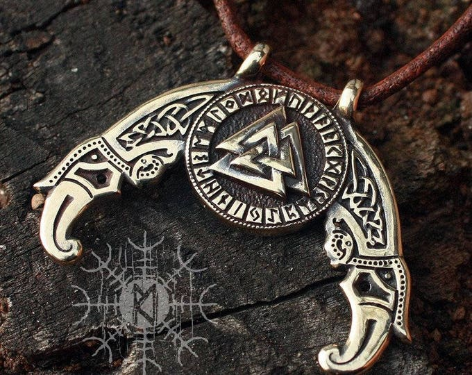 Bronze Valknut Futhark Odin Triple Horn Triskele Ravens Huggin Munnin Vikings Nordic Pendant Necklace