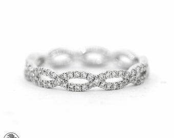 Diamond Infinity Ring, Diamond Band, Wedding band With Diamonds, Infinity Symbol Wedding Band, Infinity Stackable ring |LDR02274