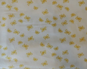 Embroidery patch background white ochre butterflies pattern