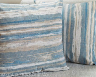 """Abstract nautical waves cushion cover. Ocean blue and sand stripes coastal design. 17"""" x 17"""" Square cushion cover, 100% cotton."""