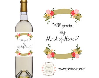 Printable Floral Watercolor Wine Bottle Label- pink roses, will you be my bridesmaid, maid of honor, bridal party, wedding party