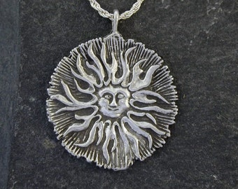 Sterling Silver Large Sun Pendant on Sterling Silver Chain.