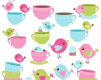 Birds and Teacups Clipart Set - clip art set of birds with teacups, teabags, bird - personal use, small commercial use, instant download