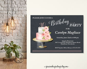 Womens Birthday Party Invitation, 30th Birthday Invite, Surprise Birthday Invite, Classic, Modern, Floral, Birthday, 40th, 50th, 60th, 70th