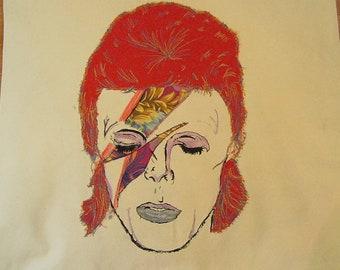 David Bowie Aladdin Sane Starman Unique One Off Machine Applique Handmade Bespock complete Cushion