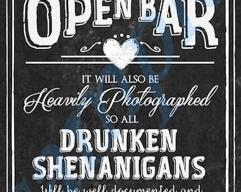 Chalkboard WEdding Engagement Open Bar DIGITAL file