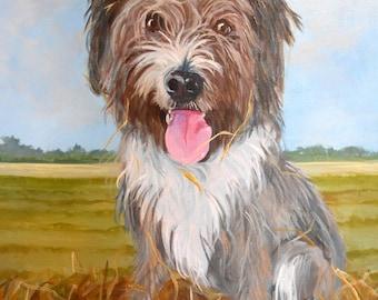 Custom Pet Portrait Painting, Original Fine Art Oils on Canvas Dog Portrait Animal Art