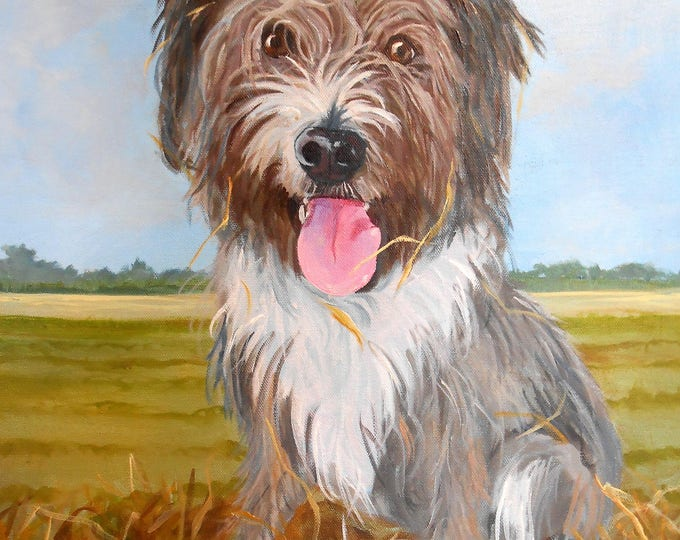 Farm dog Pet Portrait Painting by Robin Zebley, Oil Painting on Canvas