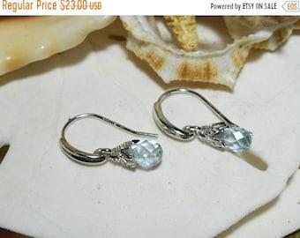 ON SALE Sterling Silver Blue Topaz Briolette Drop Dangle Earrings 1.40ctw 1.55g