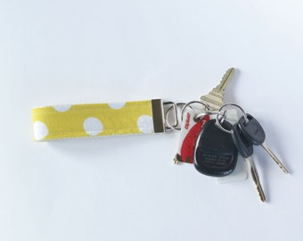 Key Fob Fabric Key Chain Sunny Yellow Polka Dots