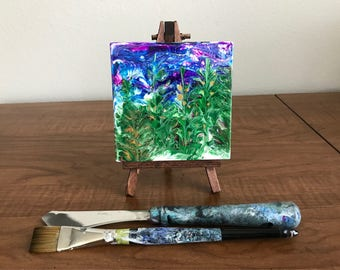 Acrylic Painting, Mini Canvas with Easel, Acrylic Pour Painting, Abstract Art, Fluid Art, Landscape, Forest, Mother's Day Gift, Desk Art