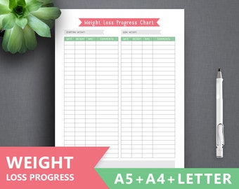 "Weight Loss planner printable: ""WEIGHT LOSS TRACKER"" Letter A4 A5 Planner Insert Diet Planner, Diet Printable, Diet Insert, Fitness planner"
