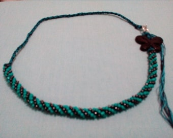 Turquoise and Black Kumihimo Necklace