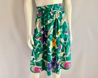 Vintage Women's 80's Teal, Floral, Flare, Skirt, Knee Length (L)