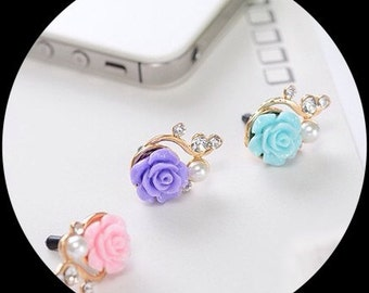 1 Rose, pearl and rhinestone, anti-dust phone plug. Phone bling/accessory.  Cell phone dust plug.