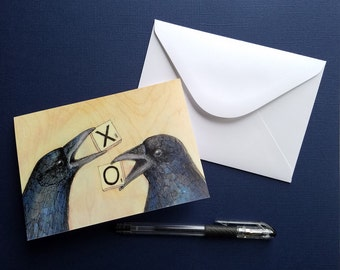 crows holding scrabble tiles X and O greeting card blank notecard with envelope 4 x 6