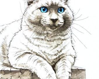Custom Cat Portrait Watercolor Painting - 11x14