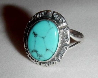 Vintage Navajo Sterling Silver and Turquoise Ring from Southwestern States