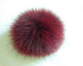 13cm Wine Real Fox Fur Pom Pom Knit Hat Pompoms Removable