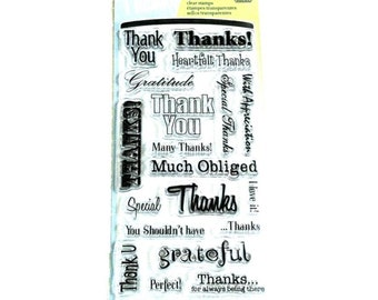 Inkadinkado Clear Acrylic Stamp Set - THANK YOU WORDS Thanks Special with appreciation Clear Stamp Set - CS054
