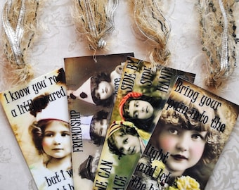 HEALING HOPE TAG Set E four vintage collage girls inspirational gift bookmark