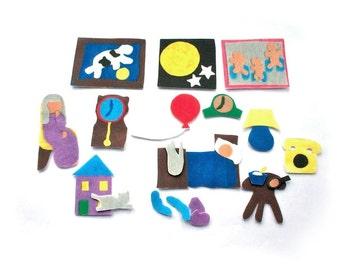Goodnight Moon - Flannel Board -  Montessori Felt Story - Waldorf Toy - Storytelling - Lesson Plans