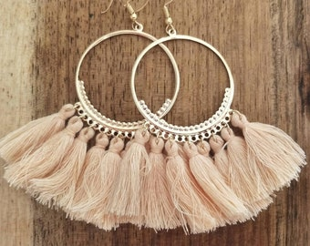 Peach Tassle Earrings/Peach Earrings/Tassle Earrings