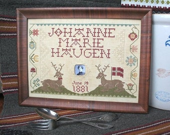 Great Grandma Johanne's Birth Sampler : Cross Stitch Pattern by Heartstring Samplery