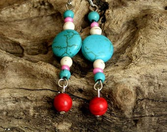 Pending boho chic hippie gypsie turquoise coral red howlite sterling silver Tibetan Silver Surfer