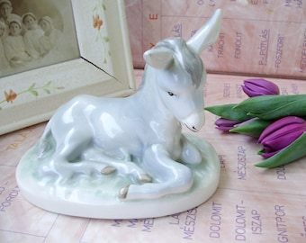 Vintage porcelain  figurine,donkey baby ,hand painted,stamped