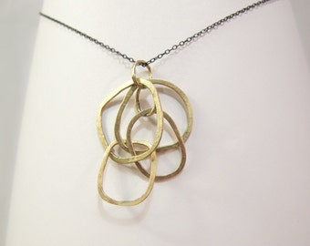 14k Gold Link Jumble Necklace on Oxidized Sterling Chain