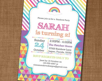 Rainbow Party Invitation - Rainbow Invite - Rainbow Birthday - Edit yourself at home!