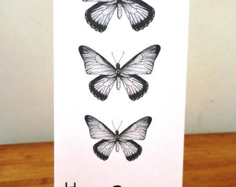 Double 3 butterflies handmade 21cm x 10 black and white