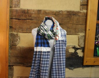 Flannel Scarf Shabby Chic Scrappy Scarves Mori Girl Tattered Upcycled Boho Hippie Patchwork Plaid Scarf Anthropologie Style Neck Wrap