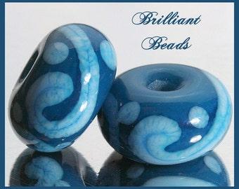 Atlantis and Sky Blue Glass Spacer Bead Pair...Handmade Lampwork SRA, Made To Order